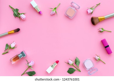 Rose Pink Decorative Cosmetics Frame Lipstick Stock Photo Edit Now