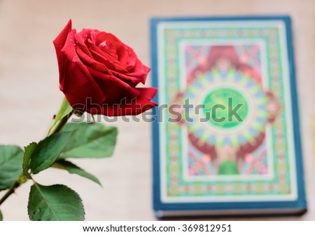 Rose Quran Holy Book Islam Stock Photo Edit Now 369812951