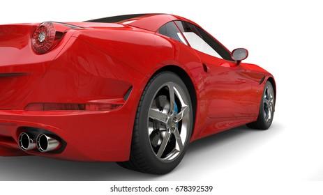 Rose red super sports car - rear wheel closeup shot