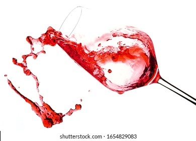 Rose Red Wine Drink Pourning Into A Glass Isolated On White Background Liquid Motion