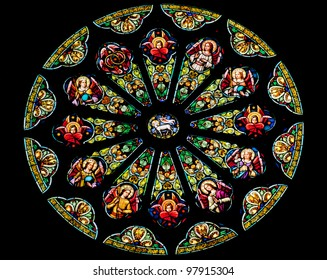Rose Stained Glass Window Saint Peter Paul Catholic Church Completed 1924 San Francisco California  Stained Glass Represents Lamb of God before God Throne Surrounded 12 Tribes Israel/12 Apostles.