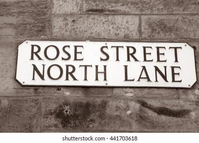Rose Street Sign; Edinburgh; Scotland; Europe in Black and White Sepia Tone