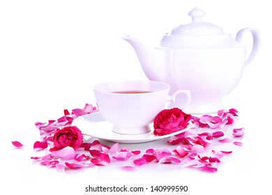 Rose tea isolated on white