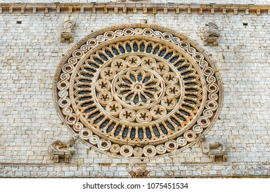 Rose window of the Basilica of Saint Francis, Assisi, one of the most important places of Christian pilgrimage in Italy. UNESCO World Heritage Site since 2000