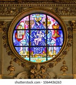 Rose window of the Basilica of Santa Maria Maggiore in Rome, Italy. April-07-2018