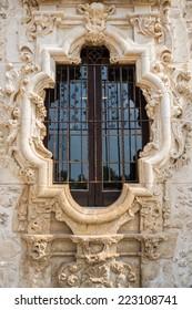 Rose Window Detail of historic Spanish Mission San Jose in San Antonio Texas