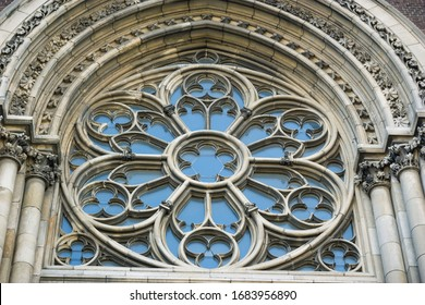 Rose window of a gothic church, temple or cathedral