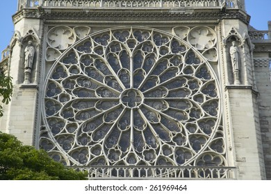 The Rose Window at the Notre Dame Cathedral, Paris, France