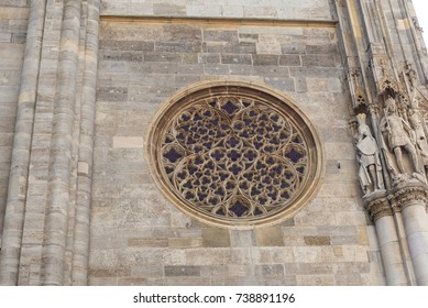 Rose Window at Saint Stephen's Cathedral Stephansdom in Vienna Austria.