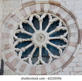 Rose window. St. Giuseppe Monastery. Assisi. Umbria.