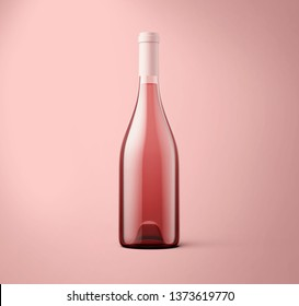 Rose wine bottle on background. Product packaging brand design. Mock up drink with place for you lable and text.