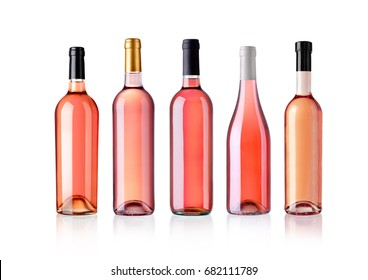 rose wine bottles, isolated