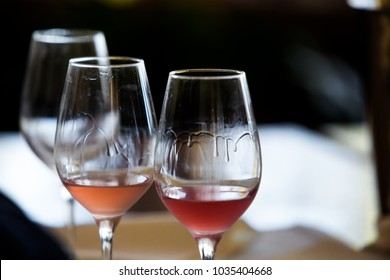 Rose Wine Glass - Close Up View