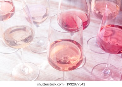 Rose wine, various styles in wineglasses, toned image