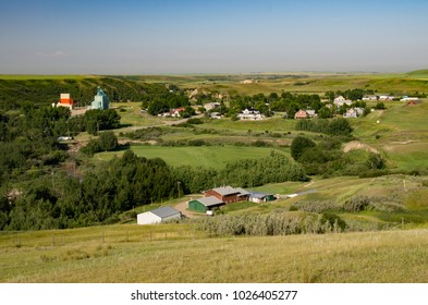 Rosebud, Alberta, Canada.  Looking west on a summer morning at the hamlet that is home to the Rosebud Theatre.