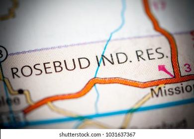 Rosebud Indian Re. South Dakota. USA on a map.