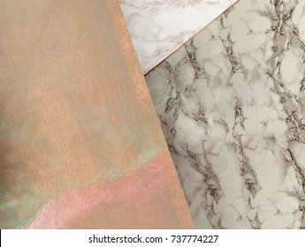 Rosegold marble background. Minimal geometric wallpaper composition.