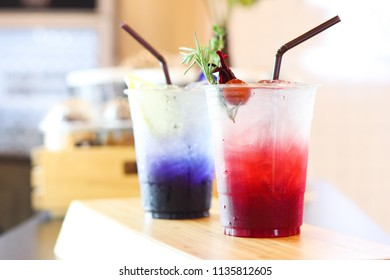 roselle juice & butterfly pea juice on background
