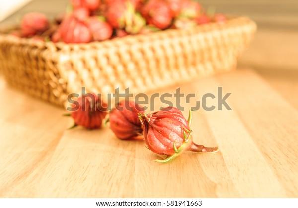 roselle on wood
