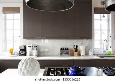 Rosemary Beach, Florida / USA - October 20 2019 : Modern Beach House Kitchen