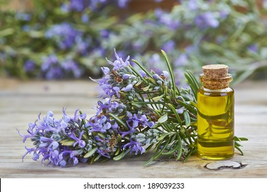 Rosemary essential oil in a small glass vial and plant with flowers on a wooden background