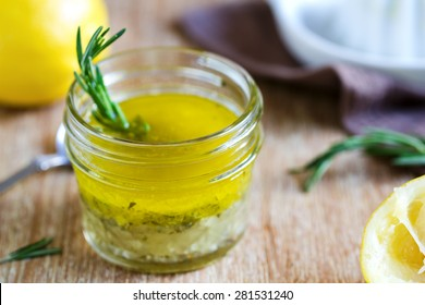 Rosemary and garlic lemon salad dressing by fresh ingredients
