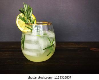Rosemary gin fizz with garnish