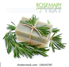 Rosemary Handmade Soap with the branches of rosemary on a white background