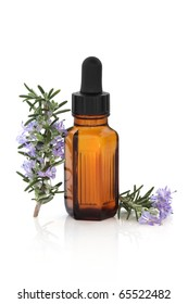 Rosemary herb leaf and flower sprigs with aromatherapy essential oil glass bottle, isolated over white background with reflection.