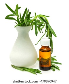 rosemary oil isolated on white background