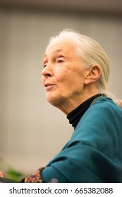 Rosemont, PA - September 15: Dr. Jane Goodall speaks at The Agnes Irwin School in Rosemont on September 15, 2015