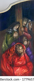 ROSENBERG, GERMANY - MAY 06, 2014: St Mary Magdalene, St. Joseph of Arimathea, St John the Evangelist and Nicodemus, detail of high altar by Sieger Koder in Church of Our Lady of Sorrows in Rosenberg