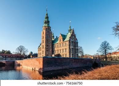 Rosenborg Castle in Copenhagen on a sunny day in early spring. Denmark