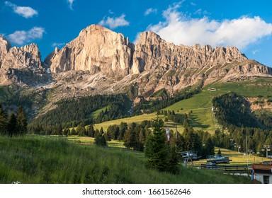 Rosengarten group, southern ridge with Mt Rotwand, Croda Rossa, 2806 m, cablecar station at Karerpass, Dolomites, South Tyrol, Trentino-Alto Adige, Italy
