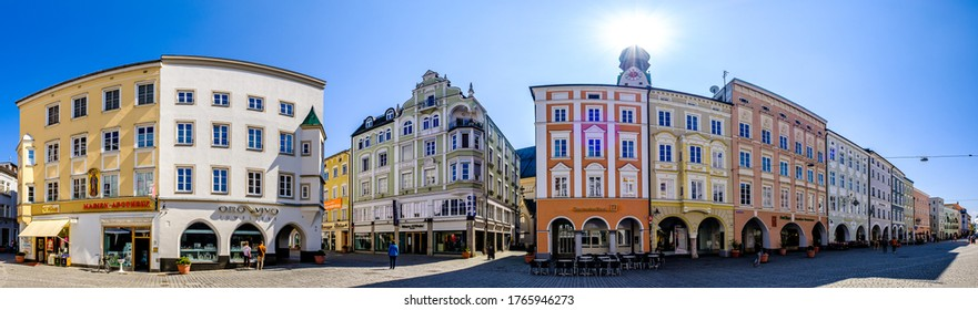 Rosenheim, Germany - April 11: typical historic bavarian buildings at the old town of Rosenheim on April 11, 2020