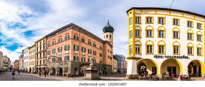 Rosenheim, Germany - February 1: famous facades in the old town on February 1,2019 in rosenheim - germany