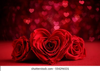 Roses Bouquet and Hearts background.Valentine or Wedding background