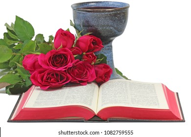 Roses, chalice, and open Bible on white background