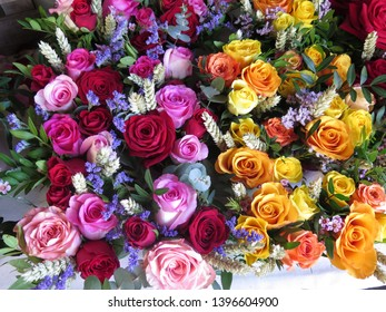 Roses of different colors cut for celebration