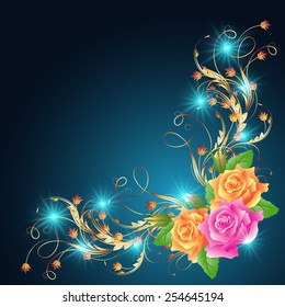Roses with golden ornament and glowing stars