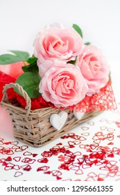 Roses and a hearts on white background, Valentines Day background, wedding day