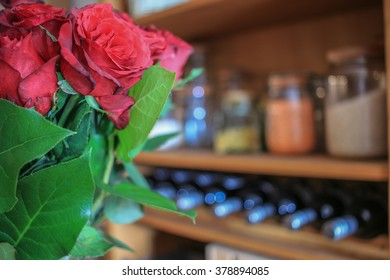 Roses in the kitchen. Selective focus.