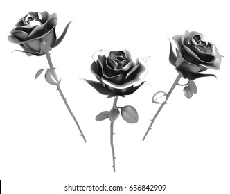 Roses metal 3d illustration, isolated, horizontal, over white