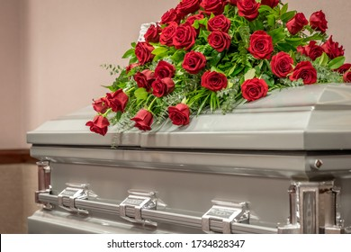 Roses on Top of Funeral Casket