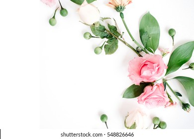 Roses on white background. Flat lay, top view. Valentine's background