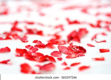 Roses on a white bed in wedding day