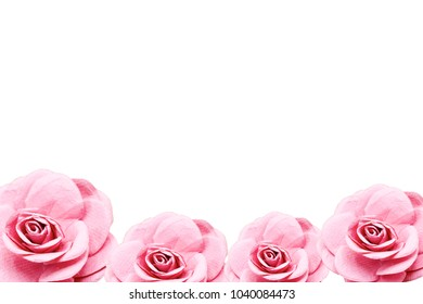 Roses Paper flowers  are isolated on white background