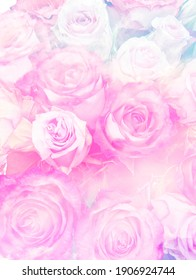 roses in pastel colors - floral background