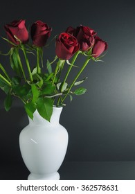 roses in the white vase