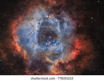 Der Rosette-Nebel, eine große kugelförmige Region im Sternbild Monoceros (NGC 2244 in schmalbandiger Beleuchtung)